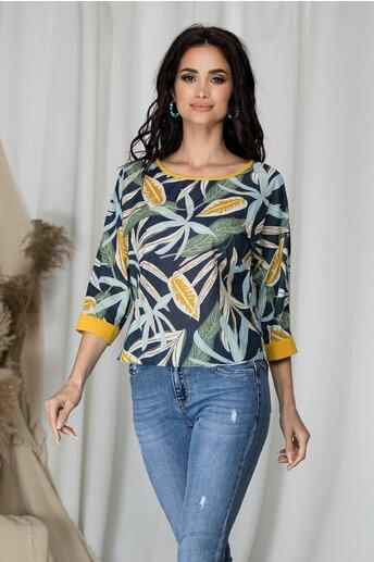 Bluza Estella bleumarin cu frunze