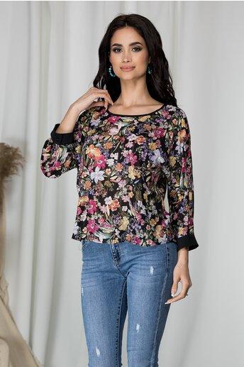 Bluza Estella neagra cu imprimeu floral