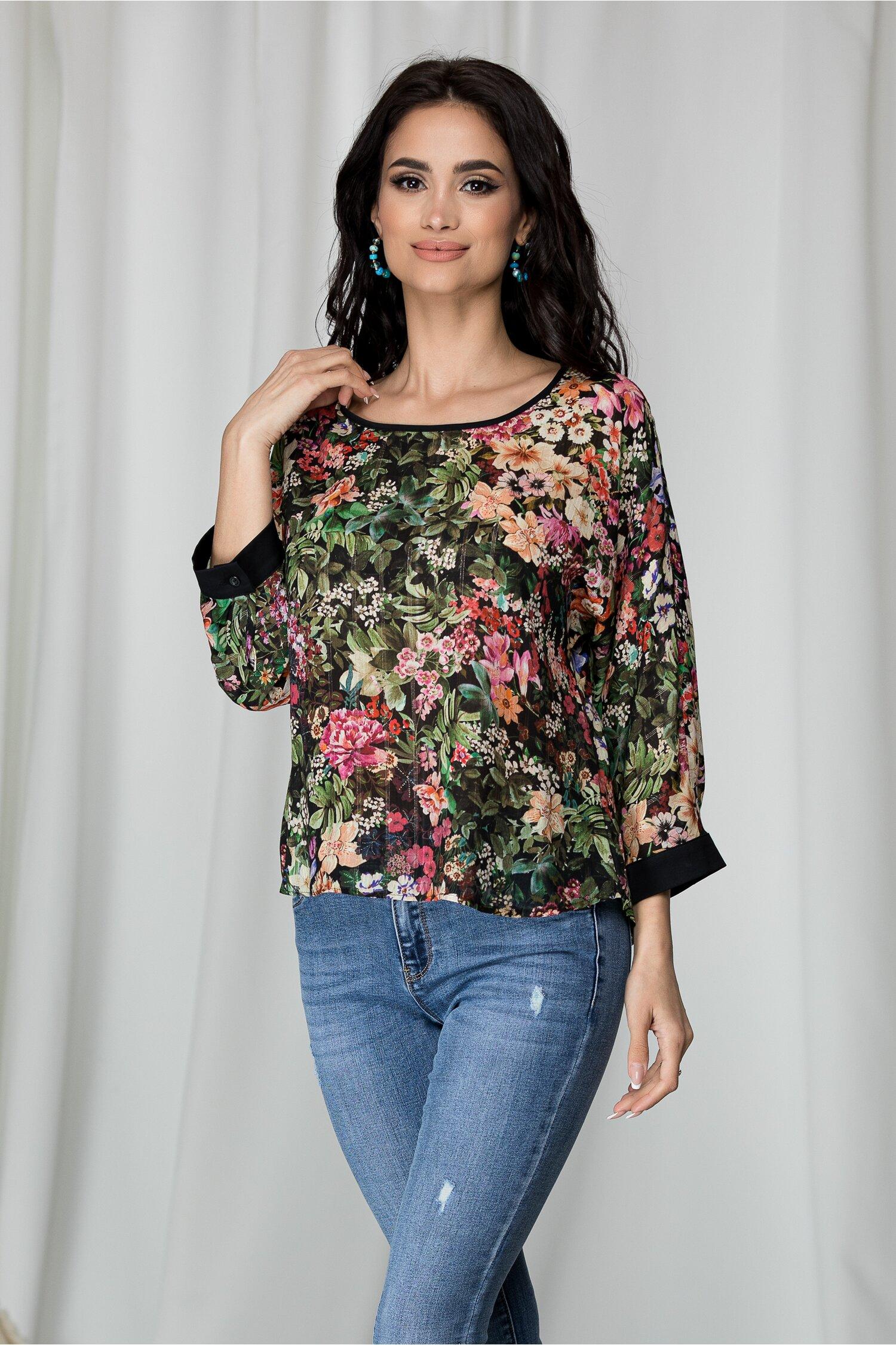 Bluza Estella neagra cu imprimeu floral frunze