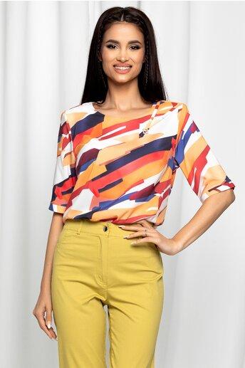 Bluza Ester alba cu imprimeu geometric portocaliu