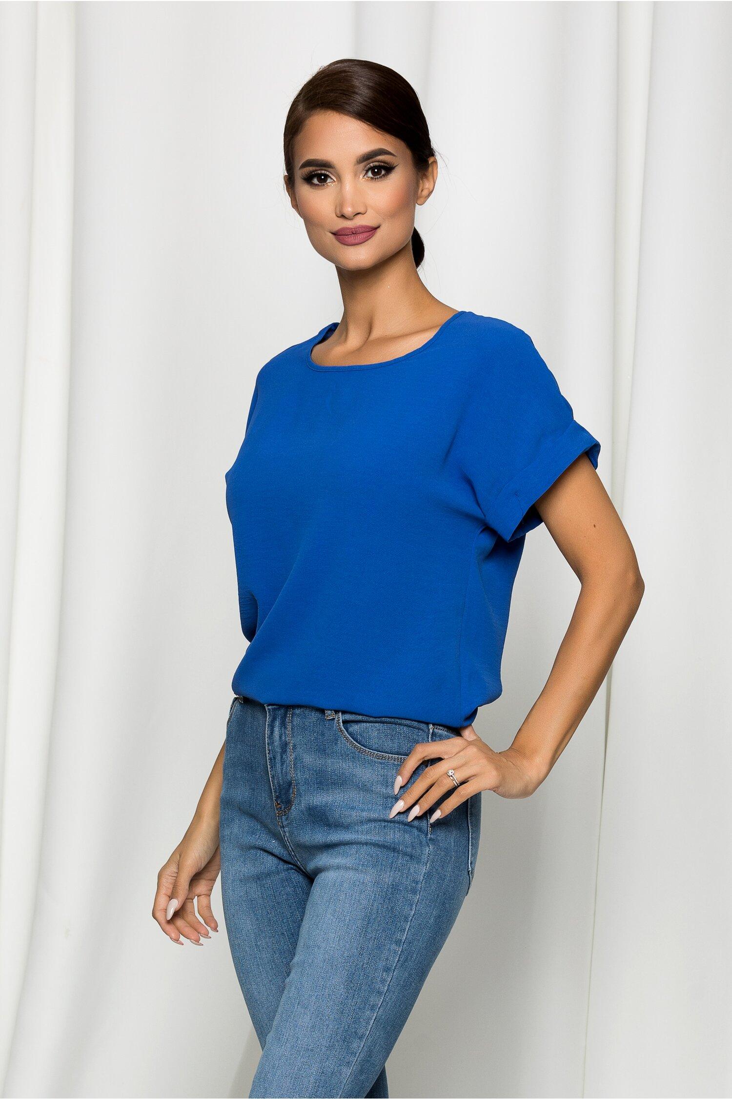 Bluza Esther albastra cu maneci scurte si decolteu rotund