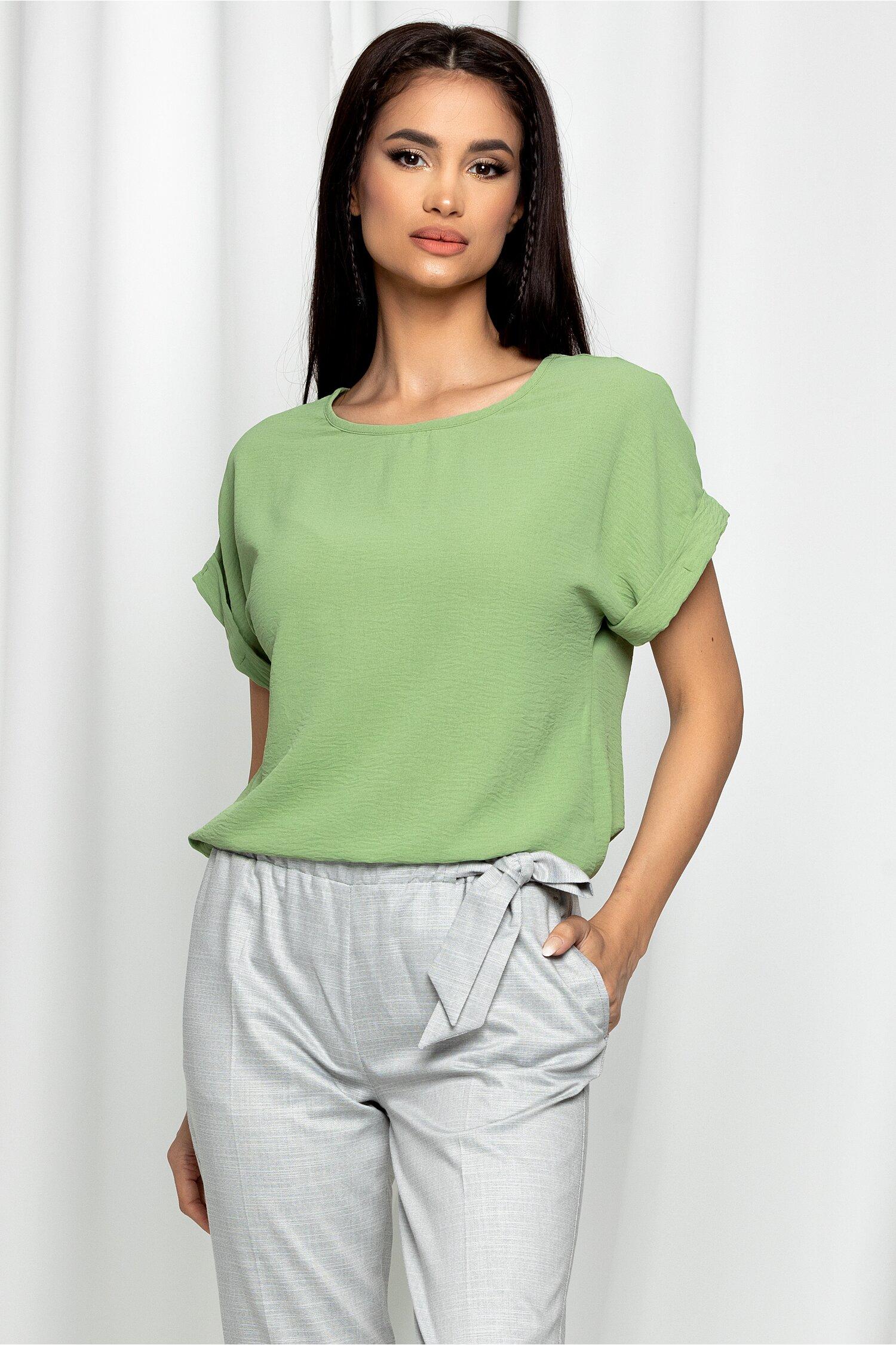 Bluza Esther verde cu maneci scurte si decolteu rotund