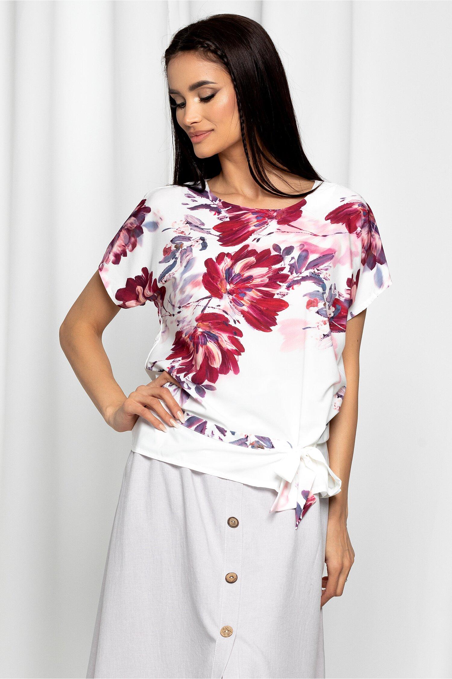Bluza Eulalia alba cu imprimeu floral bordo