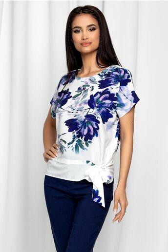 Bluza Eulalia alba cu maneci scurte si imprimeu floral