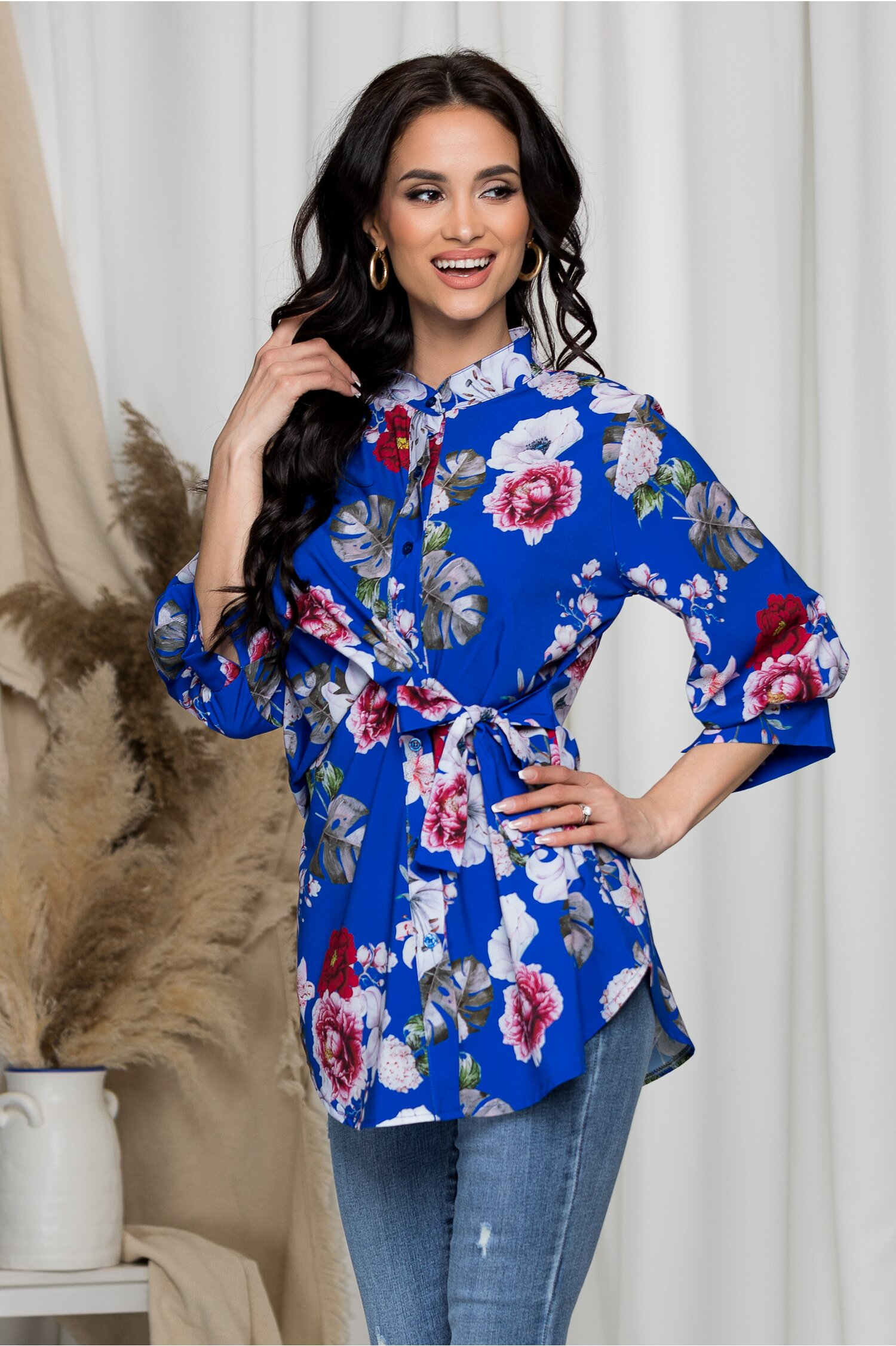 Bluza Eveline albastra imprimeu floral