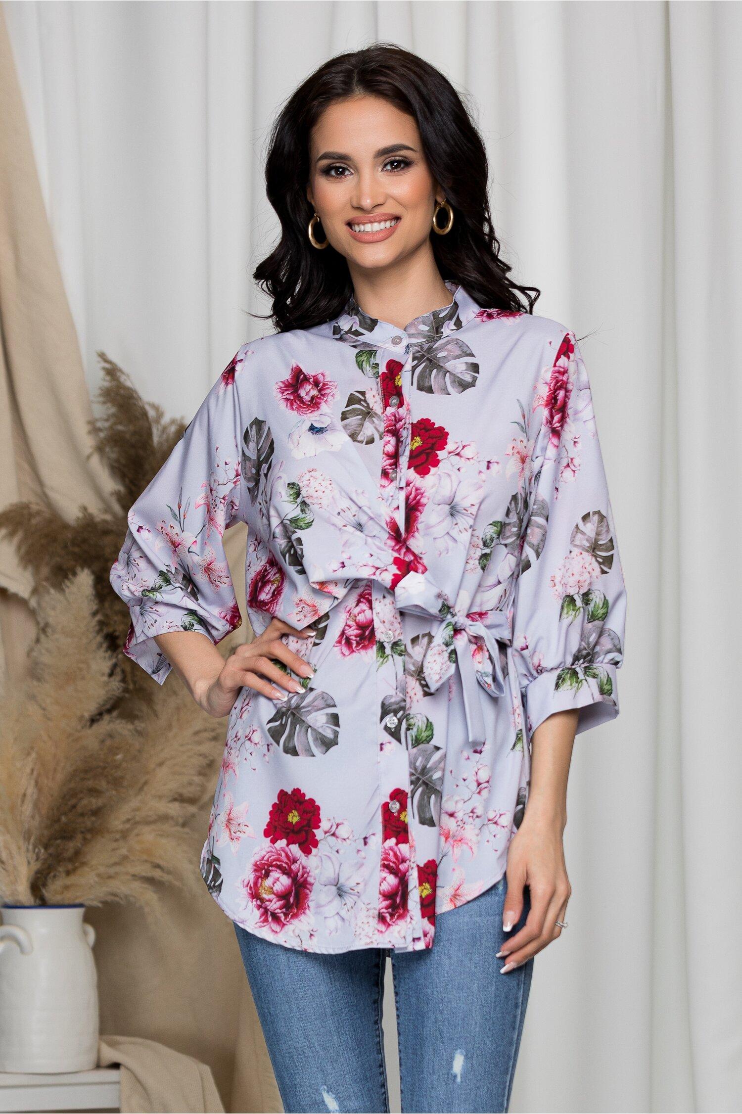 Bluza Eveline lila cu imprimeu floral