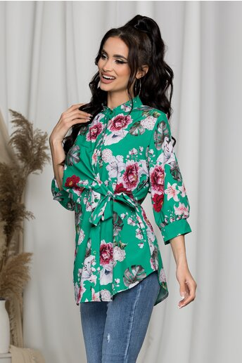 Bluza Eveline verde cu imprimeu floral