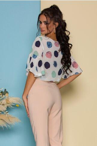 Bluza Fely alba cu buline maxi colorate