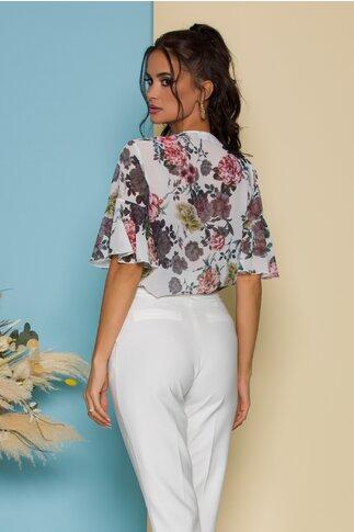 Bluza Fely alba cu imprimeuri florale