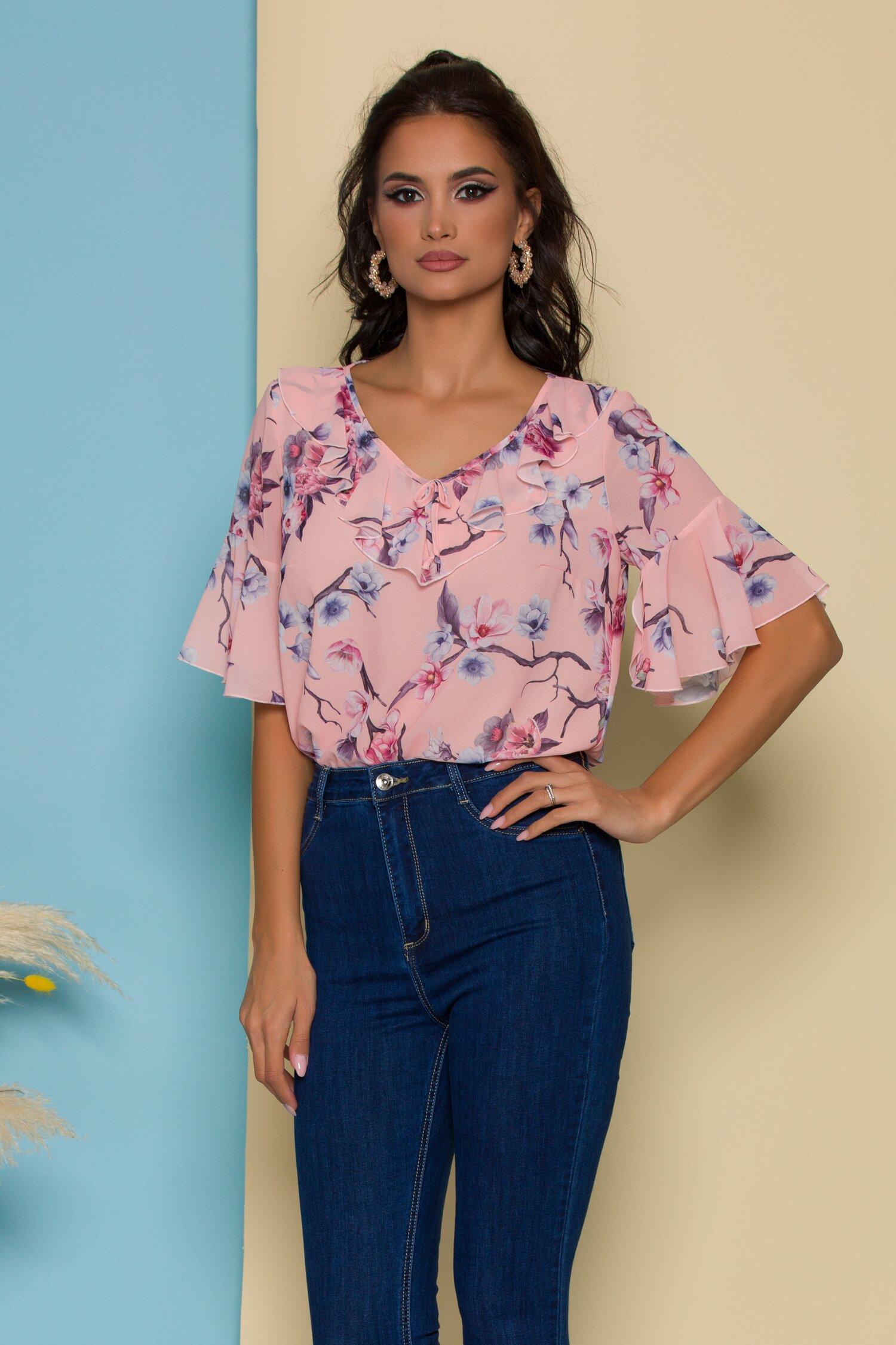 Bluza Fely roz somon cu imprimeuri florale