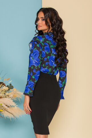 Bluza Flavia neagra cu imprimeu floral albastru si volane