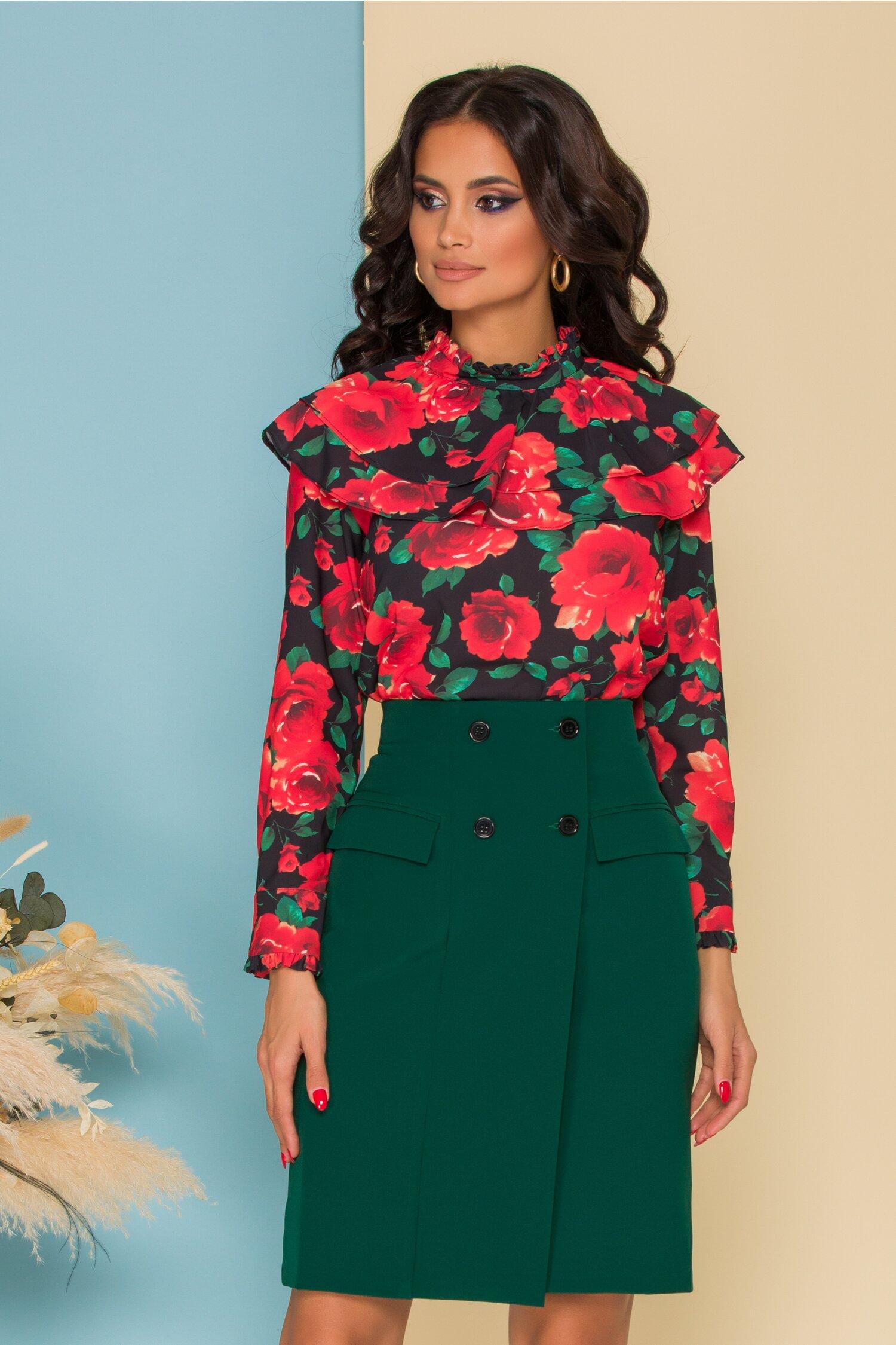 Bluza Flavia neagra cu imprimeu floral rosu si volane