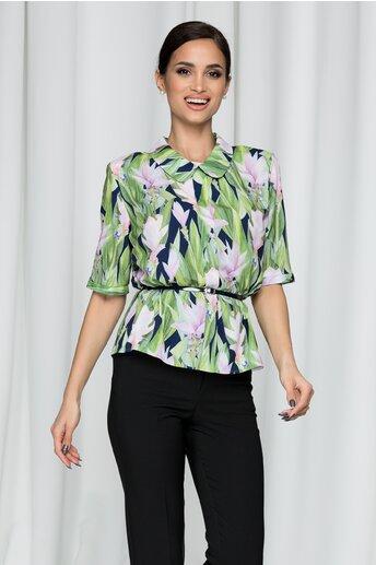 Bluza Flavia verde cu imprimeu floral si pliu frontal