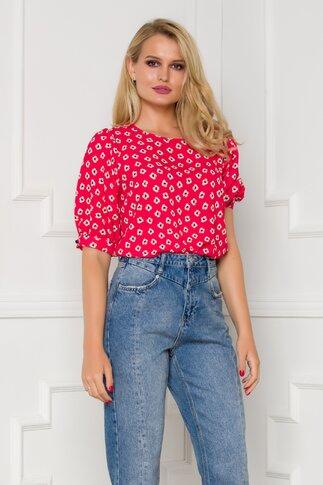 Bluza Fleur rosie cu imprimeu floral