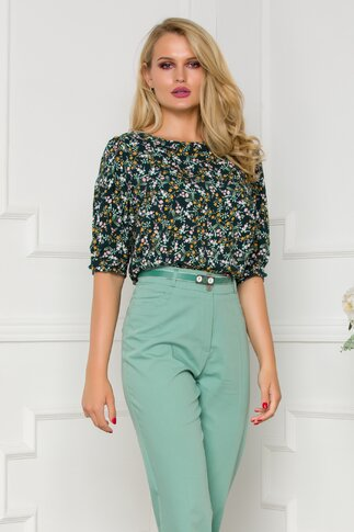 Bluza Fleur verde cu imprimeu floral