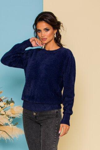 Bluza Fluffy bleumarin din tricot pufos