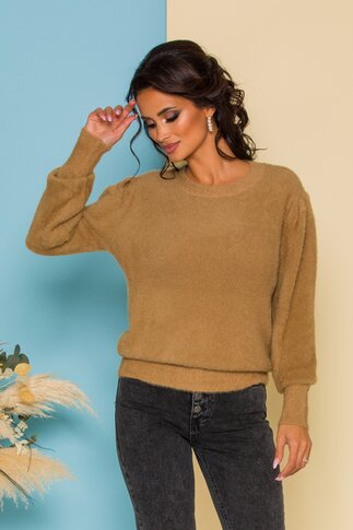 Bluza Fluffy maro camel din tricot pufos