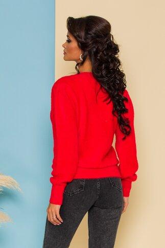 Bluza Fluffy rosie din tricot pufos