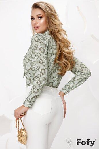 Bluza Fofy dama din voal verde cu funda innodata si accesoriu auriu