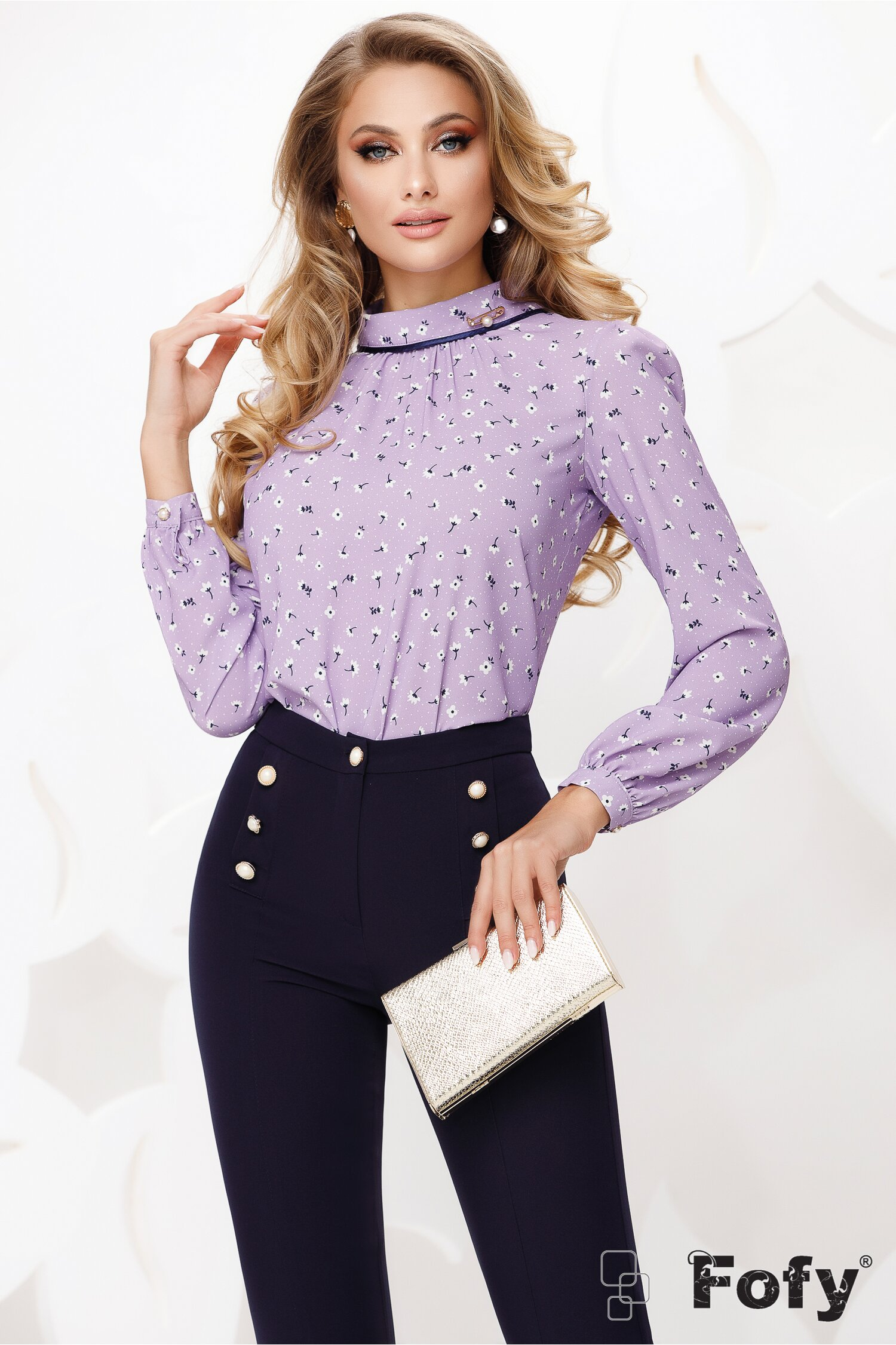 Bluza Fofy dama lila din voal cu guler sal si accesoriu inclus