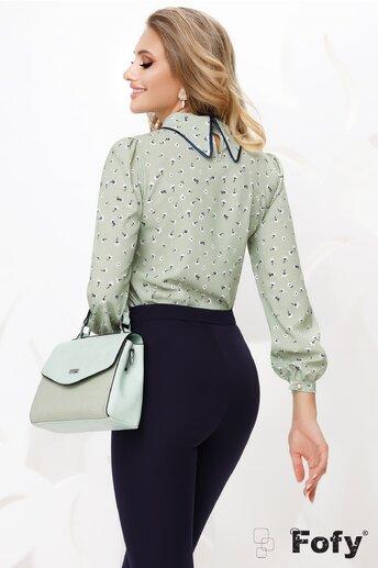 Bluza Fofy dama verde din voal cu guler sal si accesoriu inclus