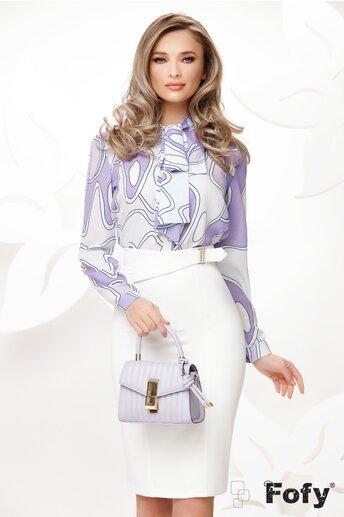 Bluza Fofy lila eleganta cu funda maxi imprimeu geometric