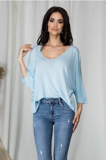 Bluza Freya bleu tricotata cu decolteu in V larg