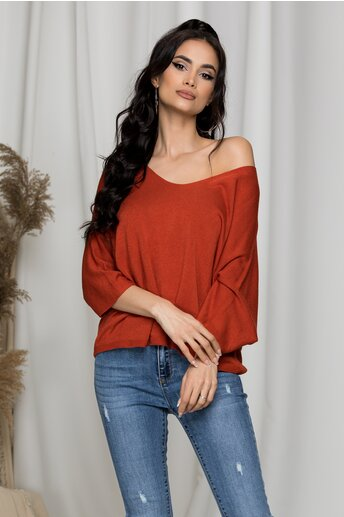 Bluza Freya caramizie tricotata cu decolteu in V larg