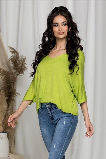 Bluza Freya verde tricotata cu decolteu in V larg