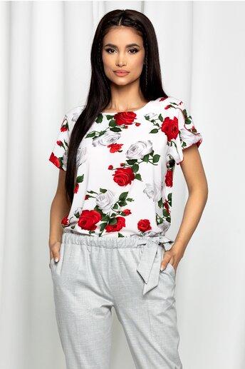 Bluza Frona alba cu maneci despicate si imprimeu floral