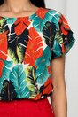 Bluza Frona turcoaz cu maneci despicate si imprimeu