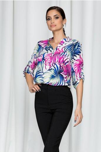 Bluza Gabi alba cu imprimeu floral bleumarin si roz