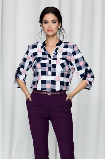 Bluza Gabi in carouri bleumarin si roz