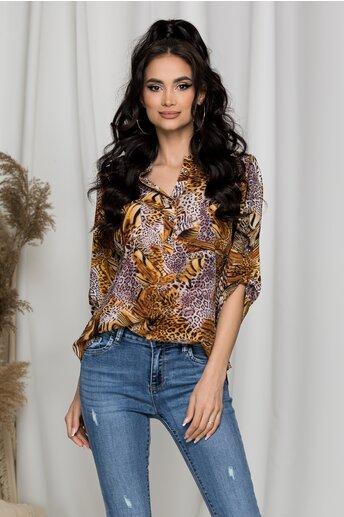 Bluza Gabi maro cu animal print