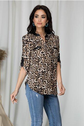 Bluza Gabi maro cu print leopard