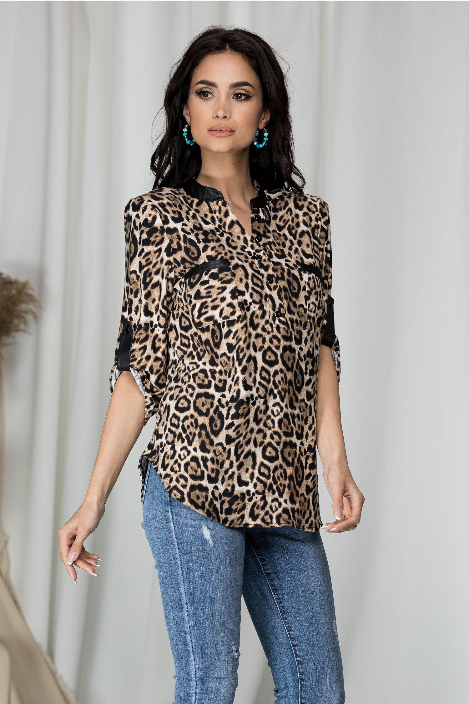 Camasa Gabi maro cu print leopard
