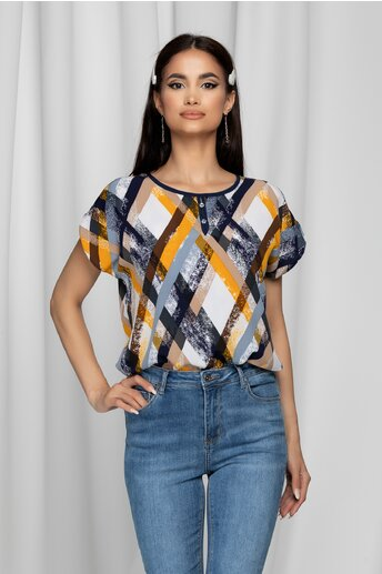 Bluza Gabrielle alba cu maneci scurte si imprimeu geometric galben mustar