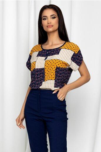 Bluza Gabrielle bej cu maneci scurte si imprimeu geometric galben mustar