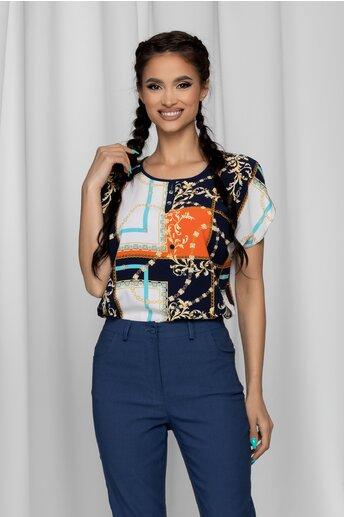 Bluza Gabrielle bleumarin cu maneci scurte si imprimeu geometric orange