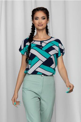 Bluza Gabrielle bleumarin cu maneci scurte si imprimeu geometric turcoaz
