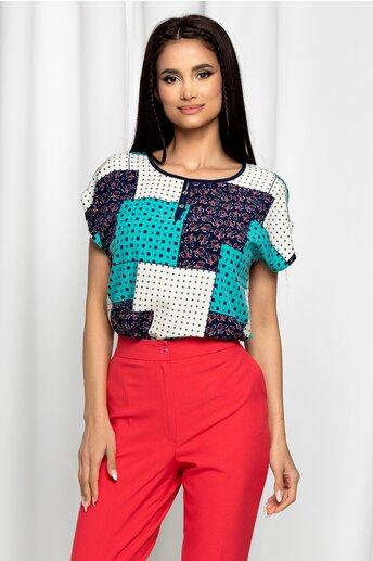 Bluza Gabrielle turcoaz cu maneci scurte si imprimeu geometric bleumarin