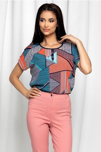 Bluza Gabrielle turcoaz cu maneci scurte si imprimeu geometric corai