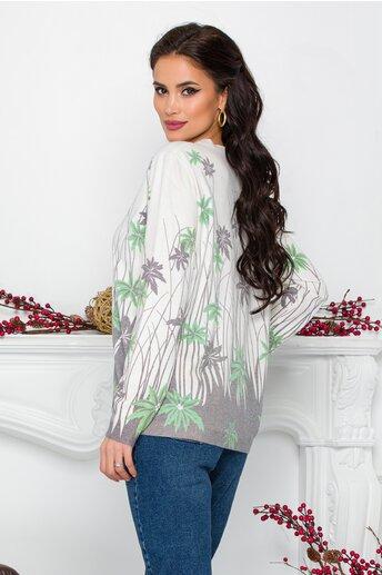 Bluza Gala alba cu imprimeu tropical verde