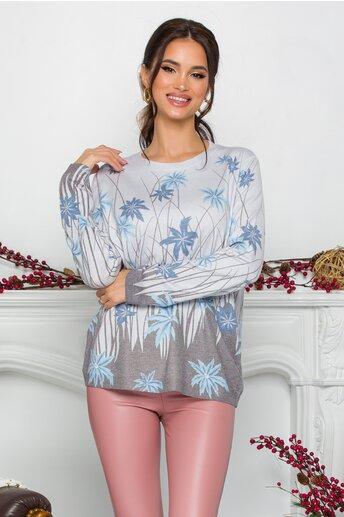 Bluza Gala bleu cu imprimeu tropical albastru