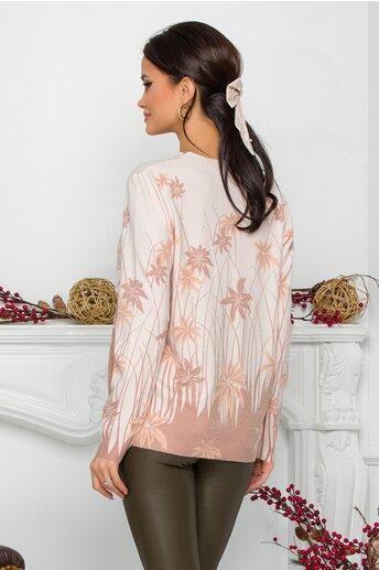 Bluza Gala roz cu imprimeu tropical maro