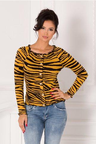 Bluza galben mustar cu nasturi si imprimeu zebra