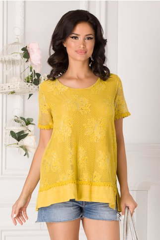 Bluza galben mustar din dantela florala