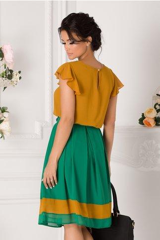 Bluza Galia galben mustar cu volane si guler verde