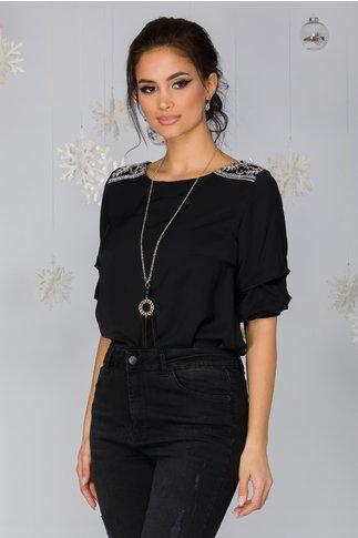 Bluza Galia neagra cu paiete la umeri