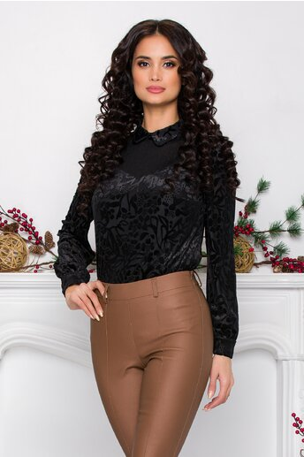 Bluza Gia neagra cu detalii catifelate